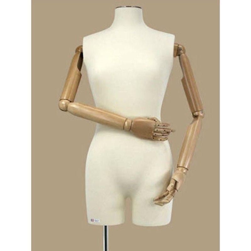 Busto femenino maniqui con brazos de madera
