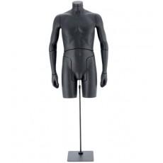 Mannequin buste homme flexible noir 0001b