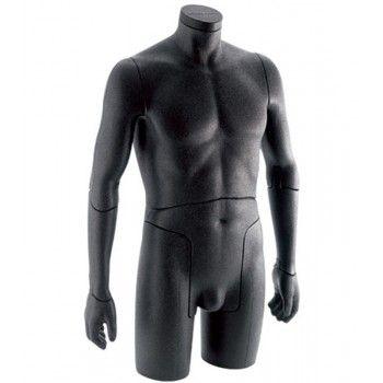 Büste schaufensterpuppe mann flexible schwarz 0001b