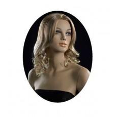 Peluca señora : maniquí peluca pelo rubio rizado