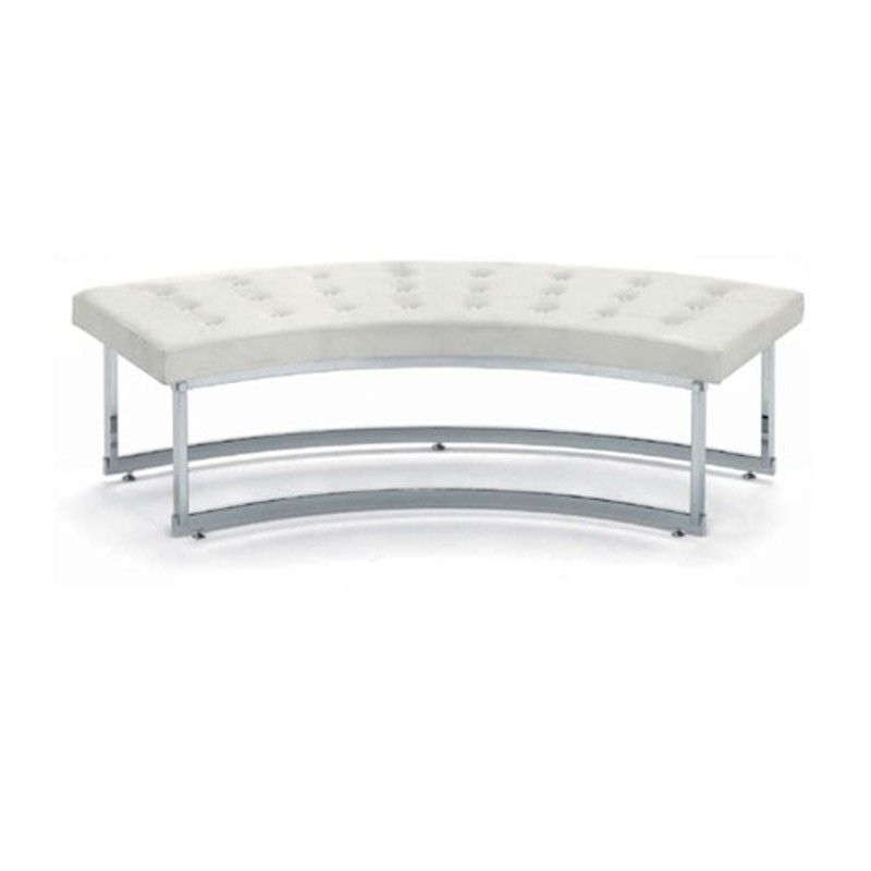 Curved bench in white imitation leather zo4514010