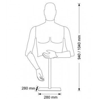Mannequin flexible homme flexible bust m